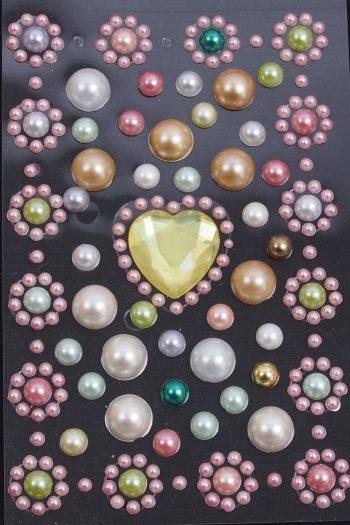 Perlensticker Blumen und Herz