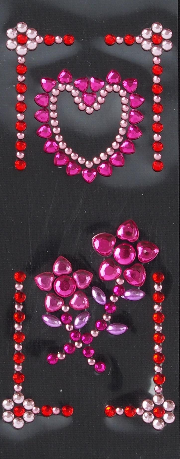 Strasssticker Herz und Blume rosarot