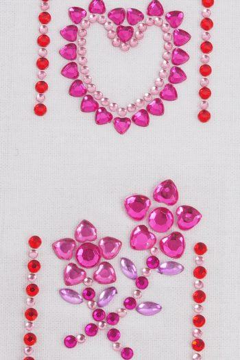 Strasssticker rosa Herz und Blume