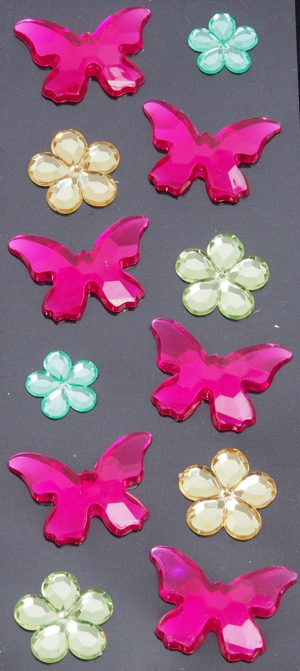 Strasssticker Schmetterling rosa