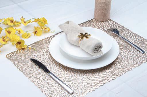 Tisch Set Metalloptik Blattform