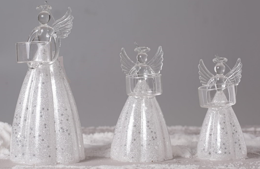 weihnachtsdekoration engel teelichthalter aus glas l s gmbh. Black Bedroom Furniture Sets. Home Design Ideas